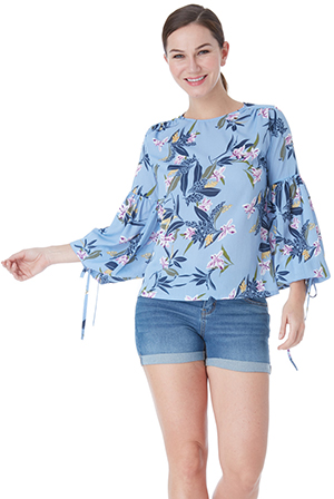 Wholesale-Floral-Print-Top-With-Bishop-Sleeves