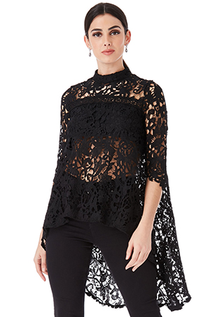 Wholesale-High-Neck-Crochet-Blouse-with-Asymmetric-Hem