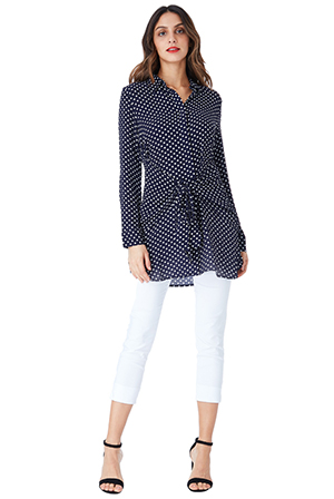 Wholesale-Polka-Dot-Button-Up-Shirt-with-Front-Wrap-Tie