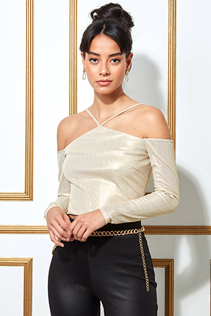 Metallic-Cut-Out-Crop-Top