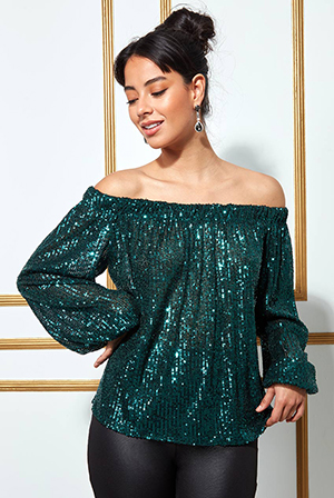 Bardot-Sequin-Crop-Top-With-Cuffed-Sleeves