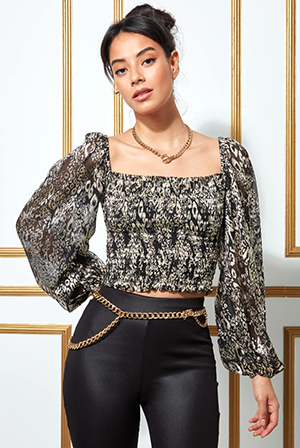 Shirred-Foil-Print-Crop-Top-with-Long-Sleeves