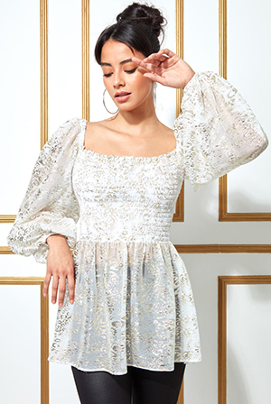Foil-Print-Shirred-Body-Long-Top-with-Sleeves