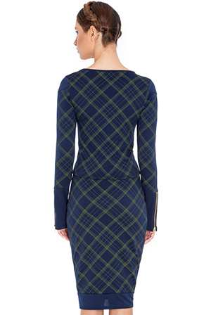 Wholesale Double zip detail long sleeve tartan print top