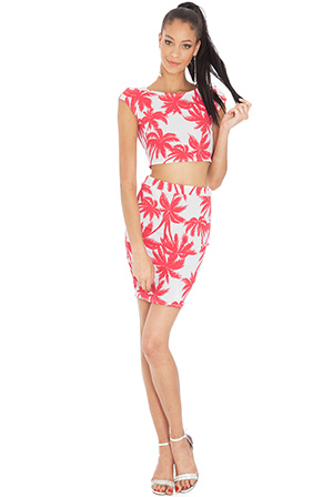 Wholesale Floral print crop top and midi skirt set