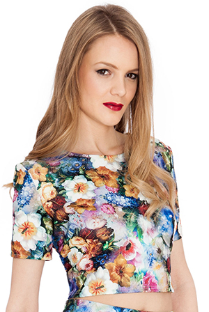 Wholesale Floral Print Stretch Jacquard Crop Top