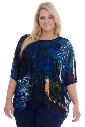 Wholesale Plus Size Sheer Printed Top