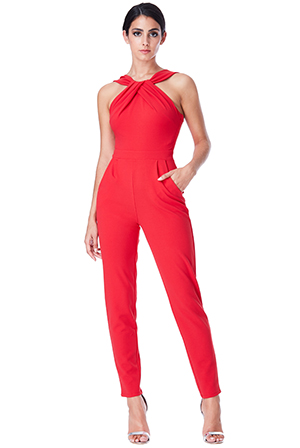 Wholesale Pleated Neckline Jumpsuit