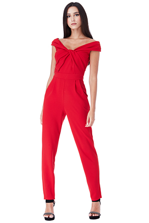 Wholesale-Bardot-Jumpsuit-with-Twisted-Neckline