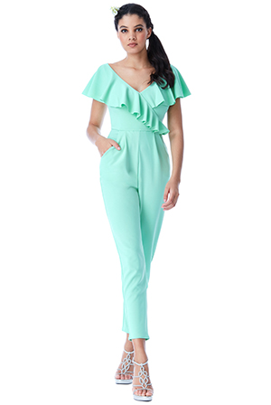 Wholesale-Frilled-V-Neckline-Jumpsuit