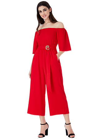 Wholesale-Bardot-Culotte-Jumpsuit-with-Belt