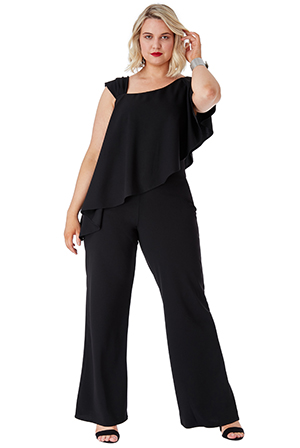 Wholesale-Plus-Size-One-Shoulder-Frilled-Jumpsuit