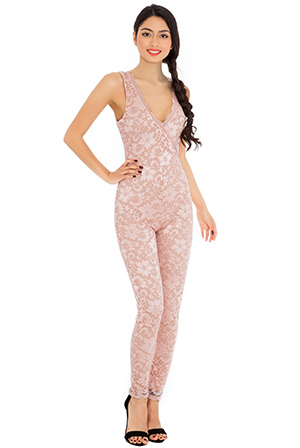 Wholesale Sleeveless V neck lace jump suit in the style of Vanessa Hudgens