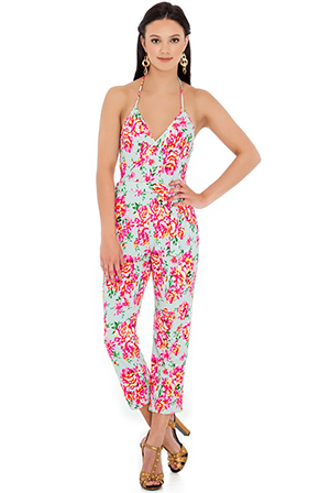 Wholesale Cross over halter neck floral print jumpsuit