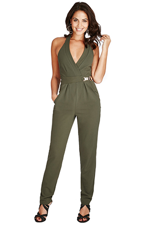 Wholesale-V-Neck-Gold-Buckle-Detail-Jumpsuit-TR76A