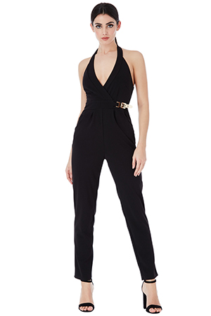 Wholesale V Neck Gold Buckle Detail Jumpsuit