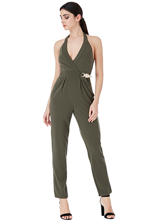 Wholesale-V-Neck-Gold-Buckle-Detail-Jumpsuit