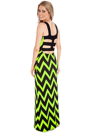Wholesale Neon zig zag print lattice back maxi