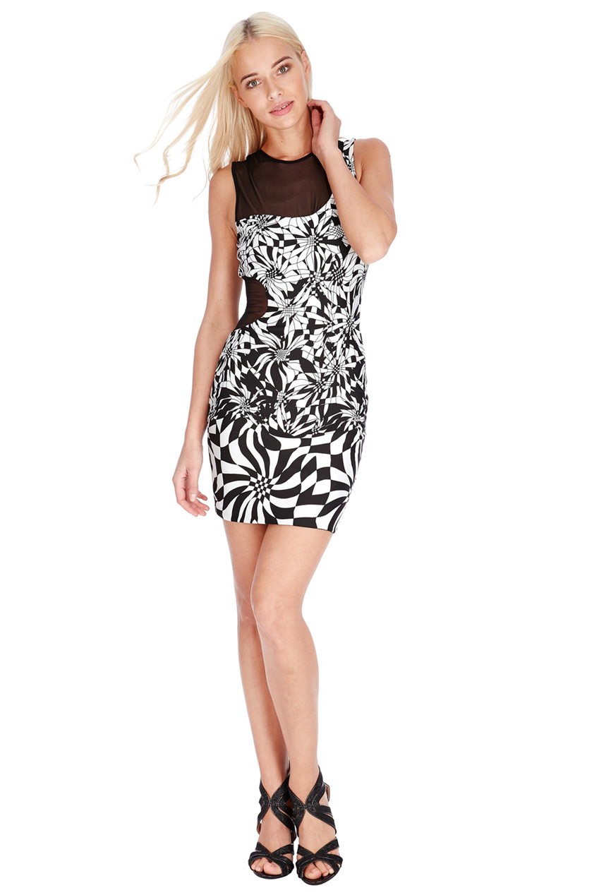 Wholesale Cut Away Dress With Mesh Inserts