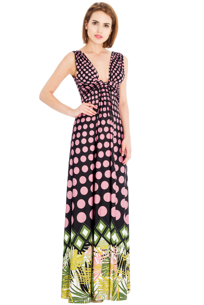 Wholesale Polka Dot Palm Leaves V Neck Maxi Dress