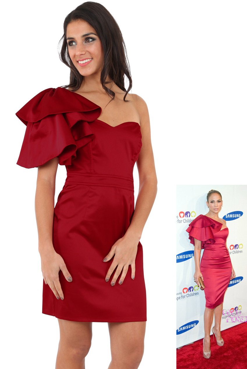 Wholesale One Shoulder Frill Dress in the Style of Jennifer Lopez