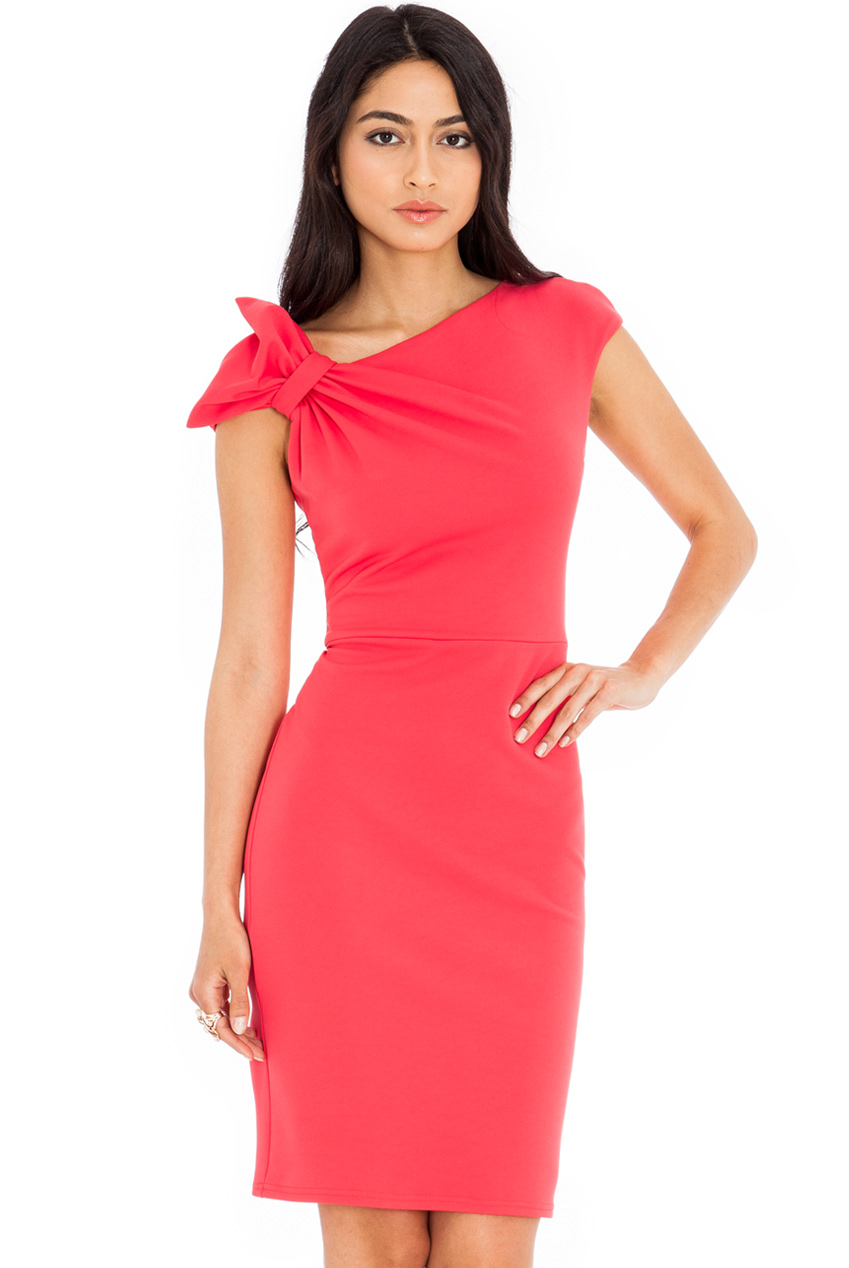 Wholesale Asymmetric Neckline Pencil Skirt Dress