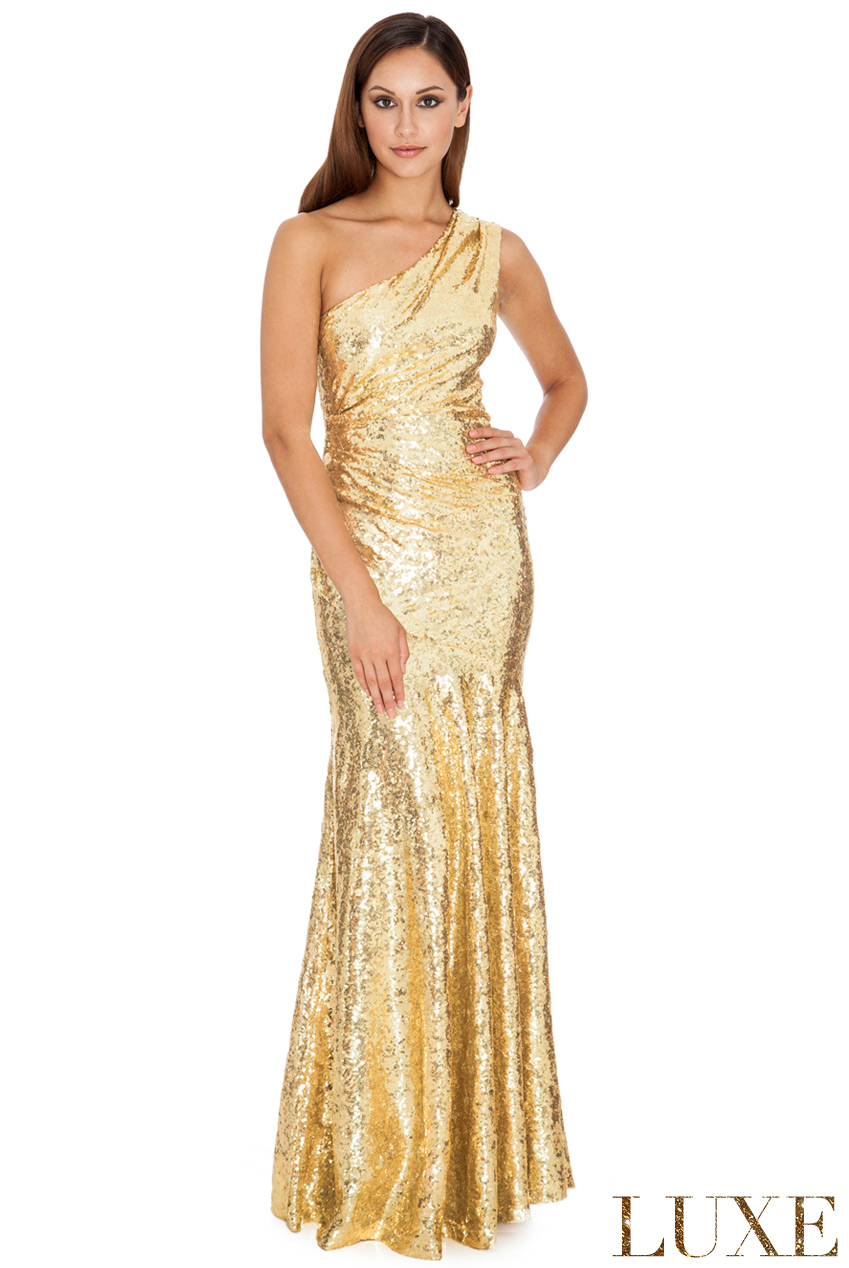 Wholesale One Shoulder Sequin Sheath Maxi in the Style of Vanessa Williams