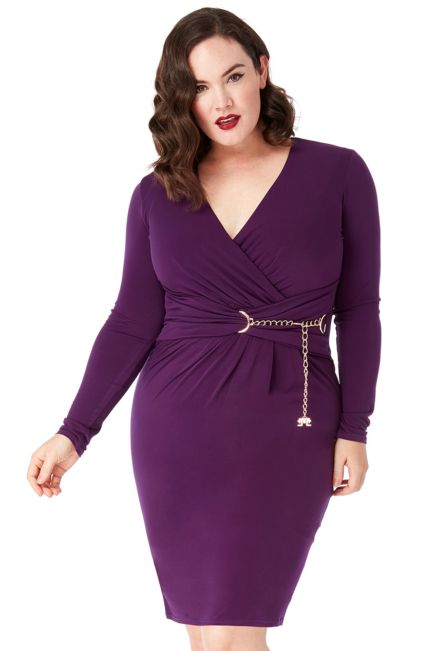 Wholesale Plus Size Chain Belt Wrap Dress