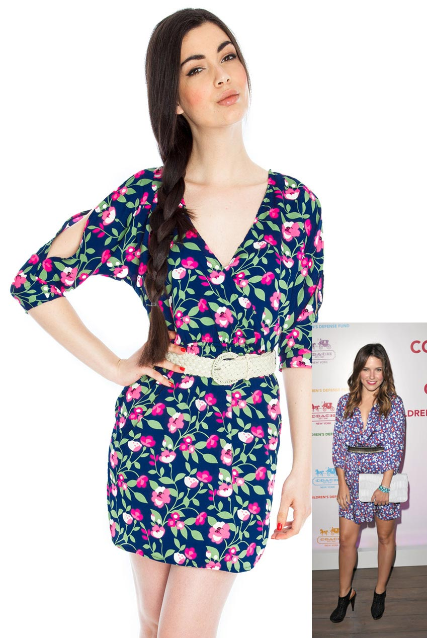 Wholesale Wrap Front Belted Floral Summer Dress in the style of Sophia Bush