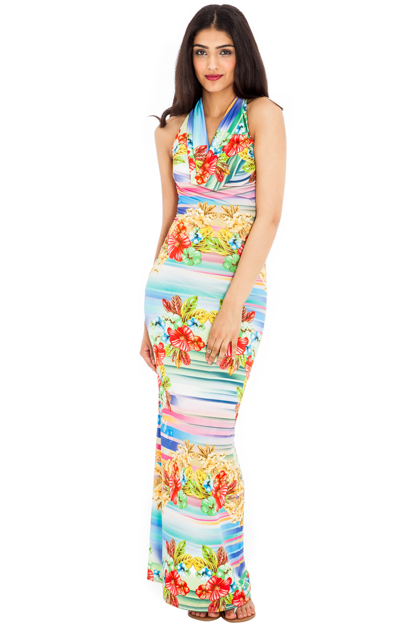 Wholesale Print Halter Neck Maxi Dress