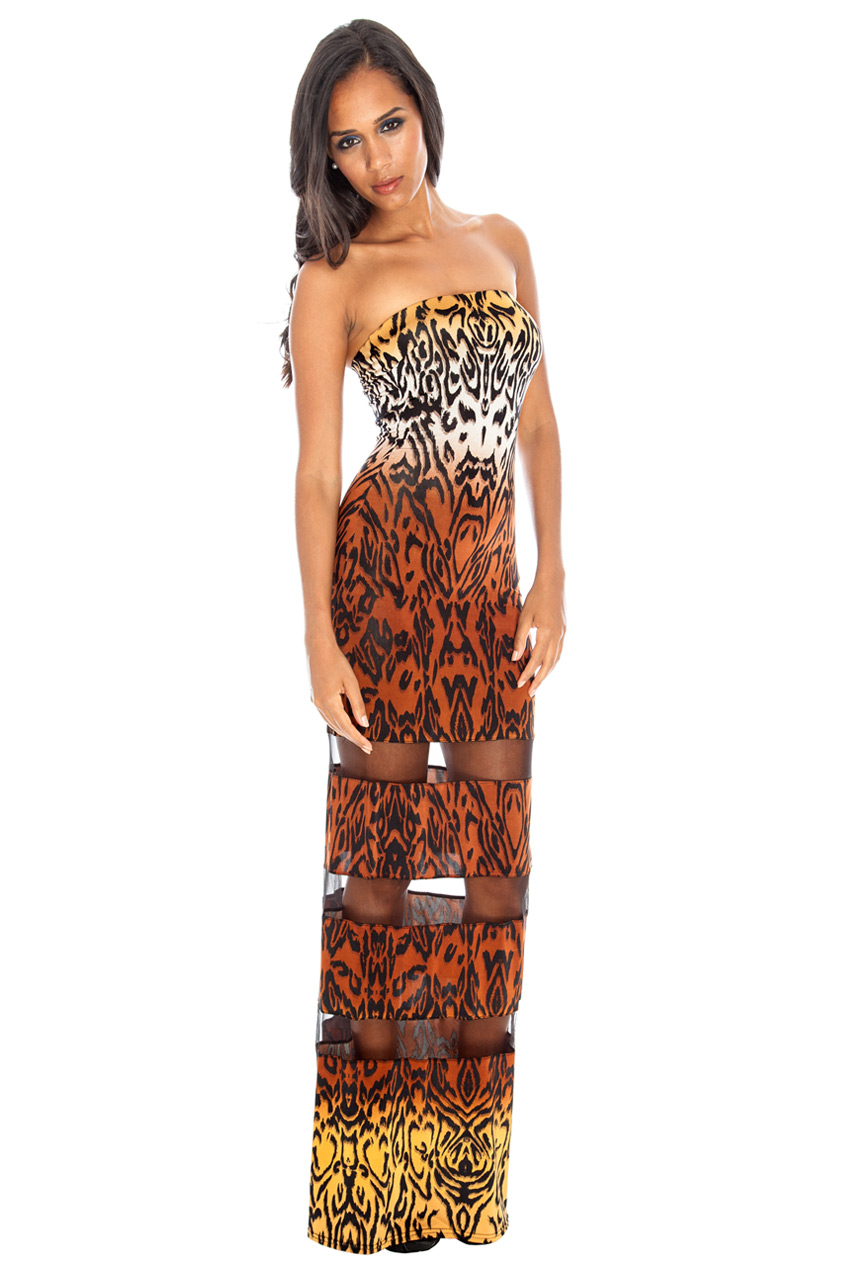 Wholesale Bandaue mesh insert printed maxi