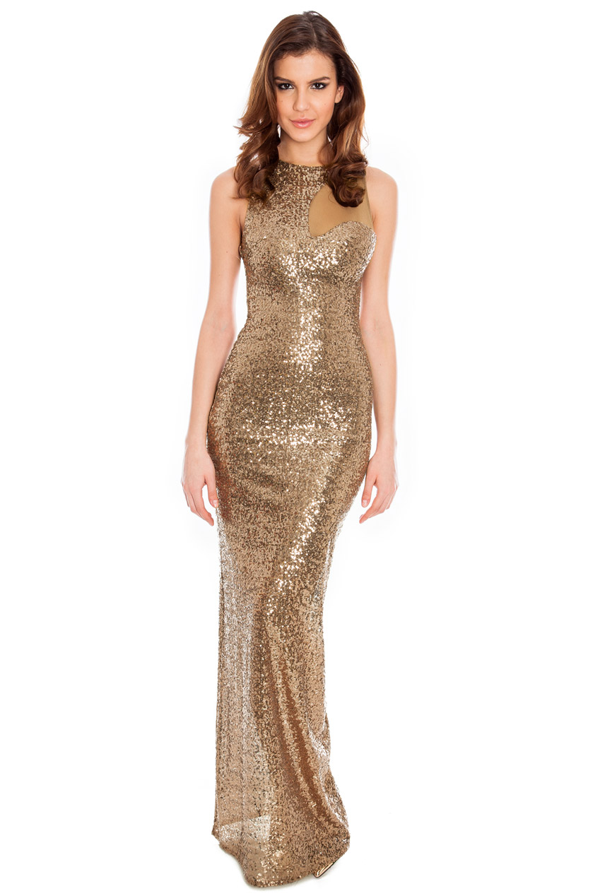 Wholesale Mesh insert sleeveless sequin cocktail maxi in the style of Naomi Watts