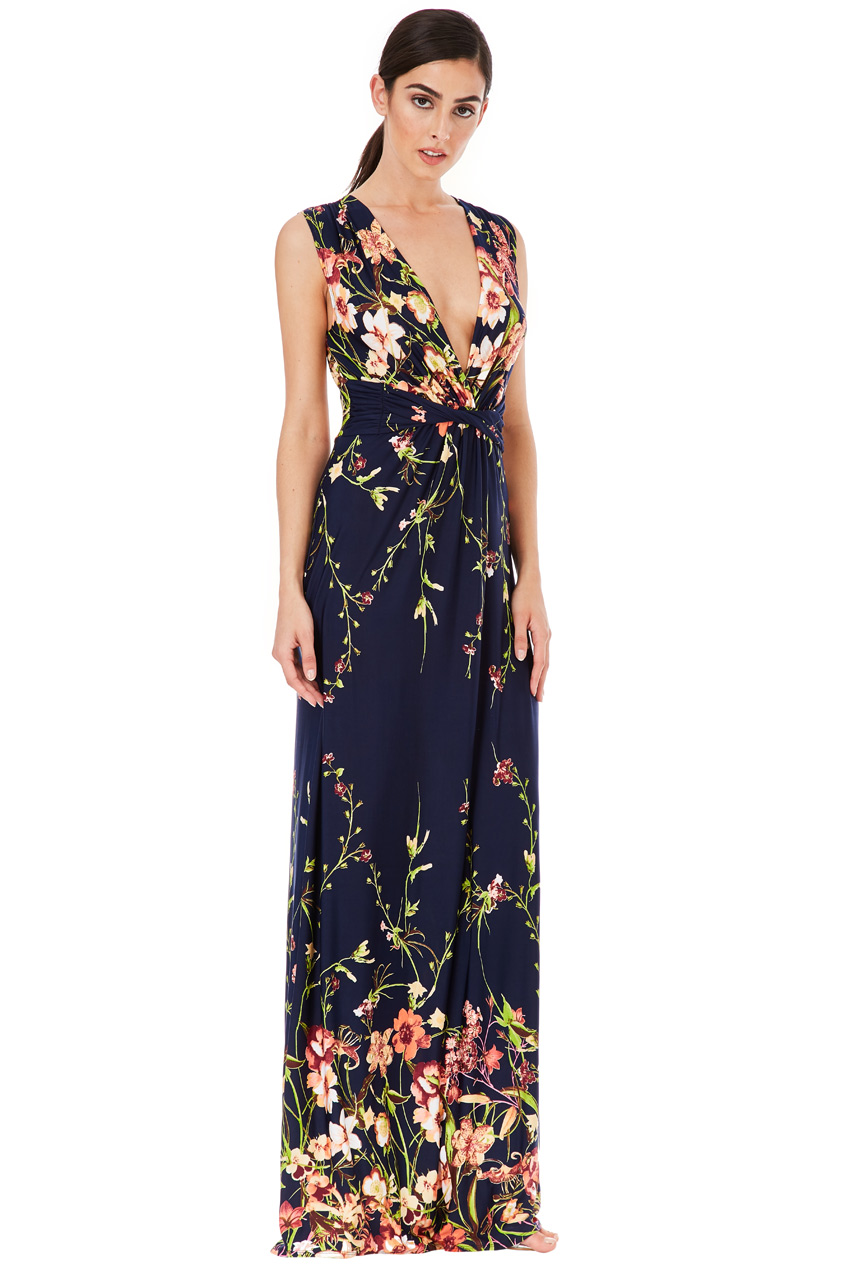 Wholesale V Neck Floral Print Maxi Dress