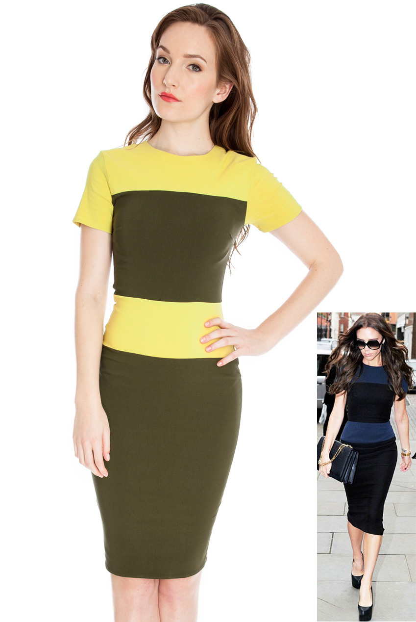 Wholesale Short sleeve pencil dress in the style of Victoria Beckham
