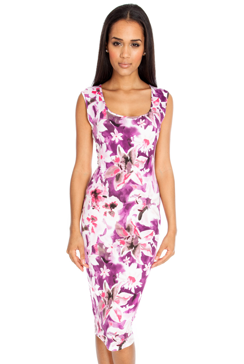 Wholesale Sleeveless orchid print dress