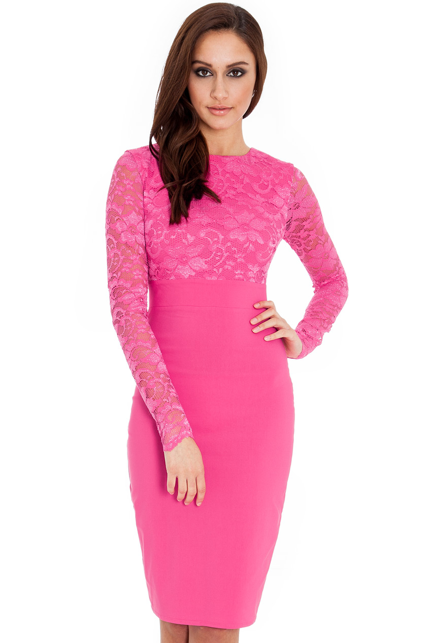 Wholesale Long sleeve lace and bengaline dress in the style of Kim Kardashian
