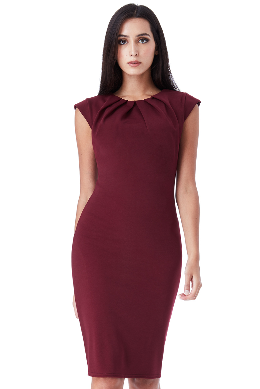 Wholesale Pleated Neckline Cap Sleeve Midi Dress