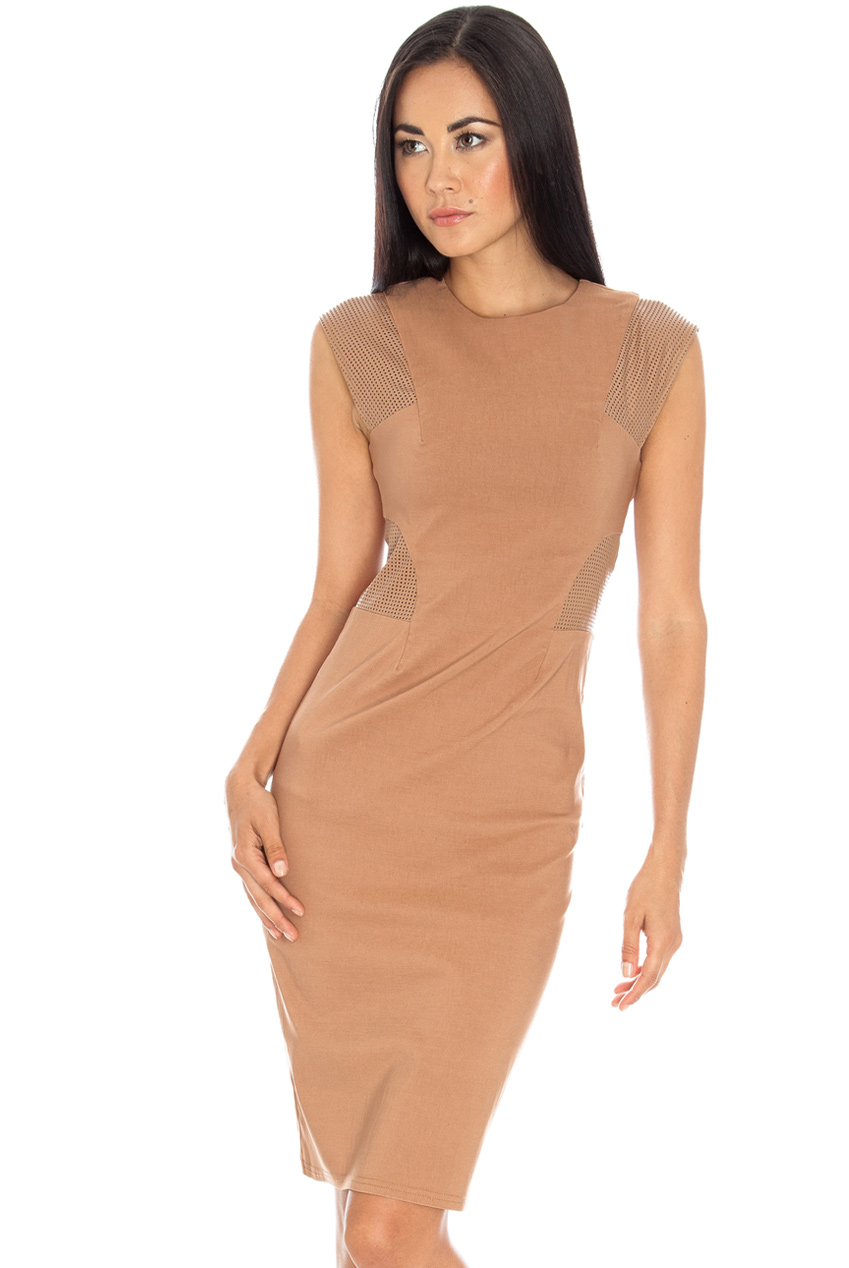 Wholesale Perforated PU insert pencil dress