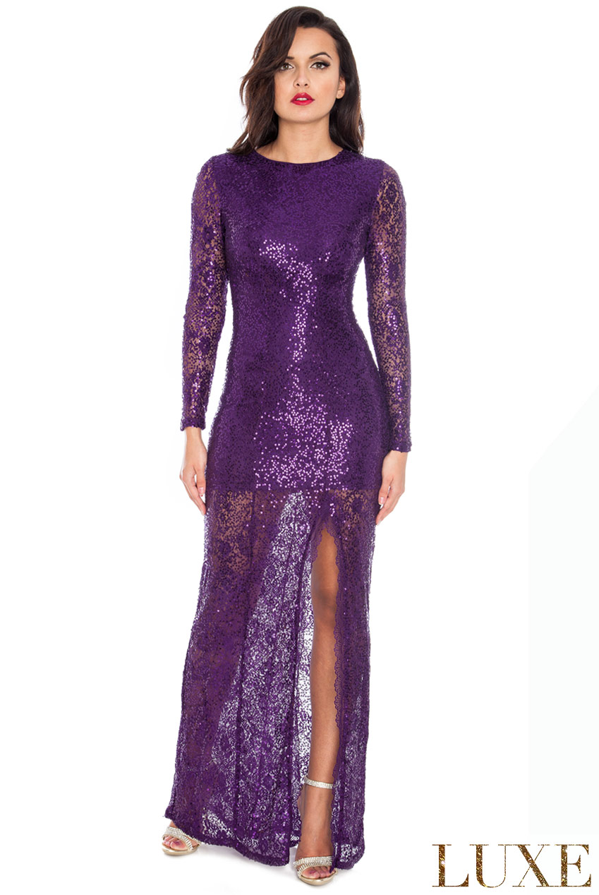 Wholesale Lace Sequin Side Split Maxi