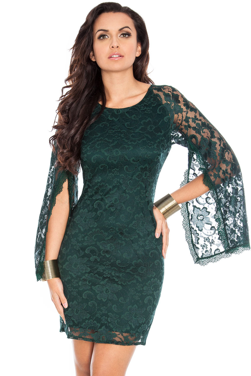 Wholesale Caple Sleeve Lace Dress