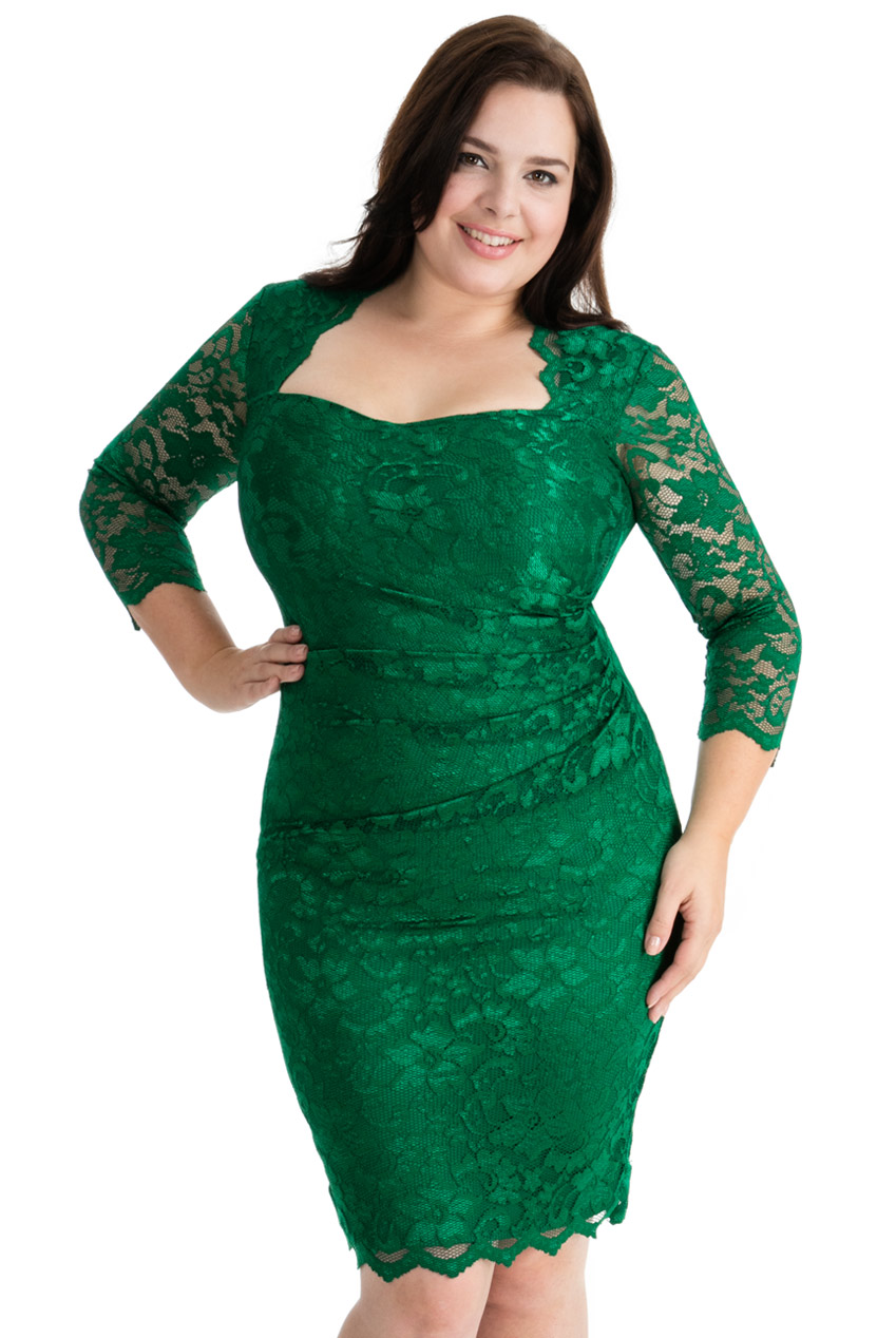 Wholesale Plus Size Lace Dress With Sweetheart Neckline