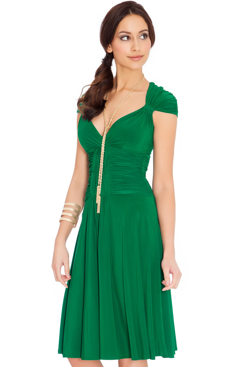 Wholesale Queen Anne Neckline Jersey Skater Midi Dress