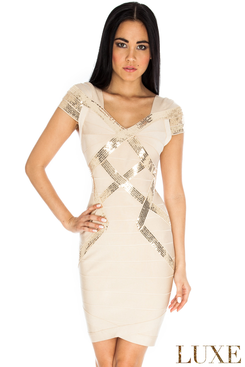 Wholesale Sequin Panel Bodycon Bandage Dress