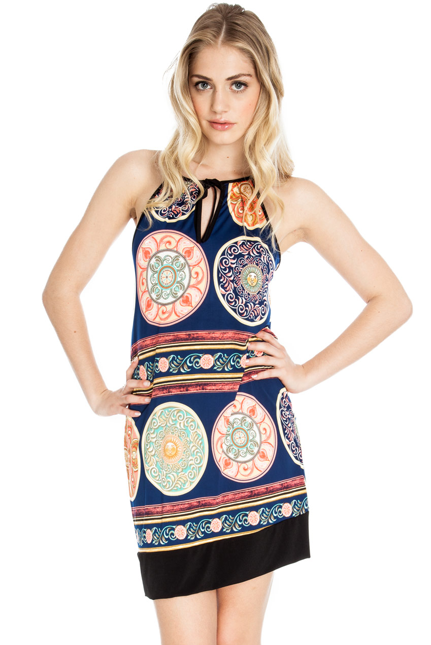 Wholesale Printed halter neck summer tunic