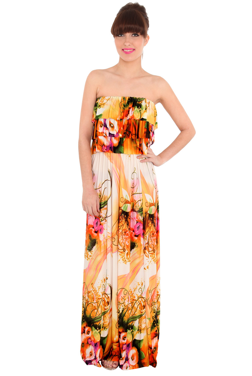 Wholesale Summer Fruit Frill Maxi