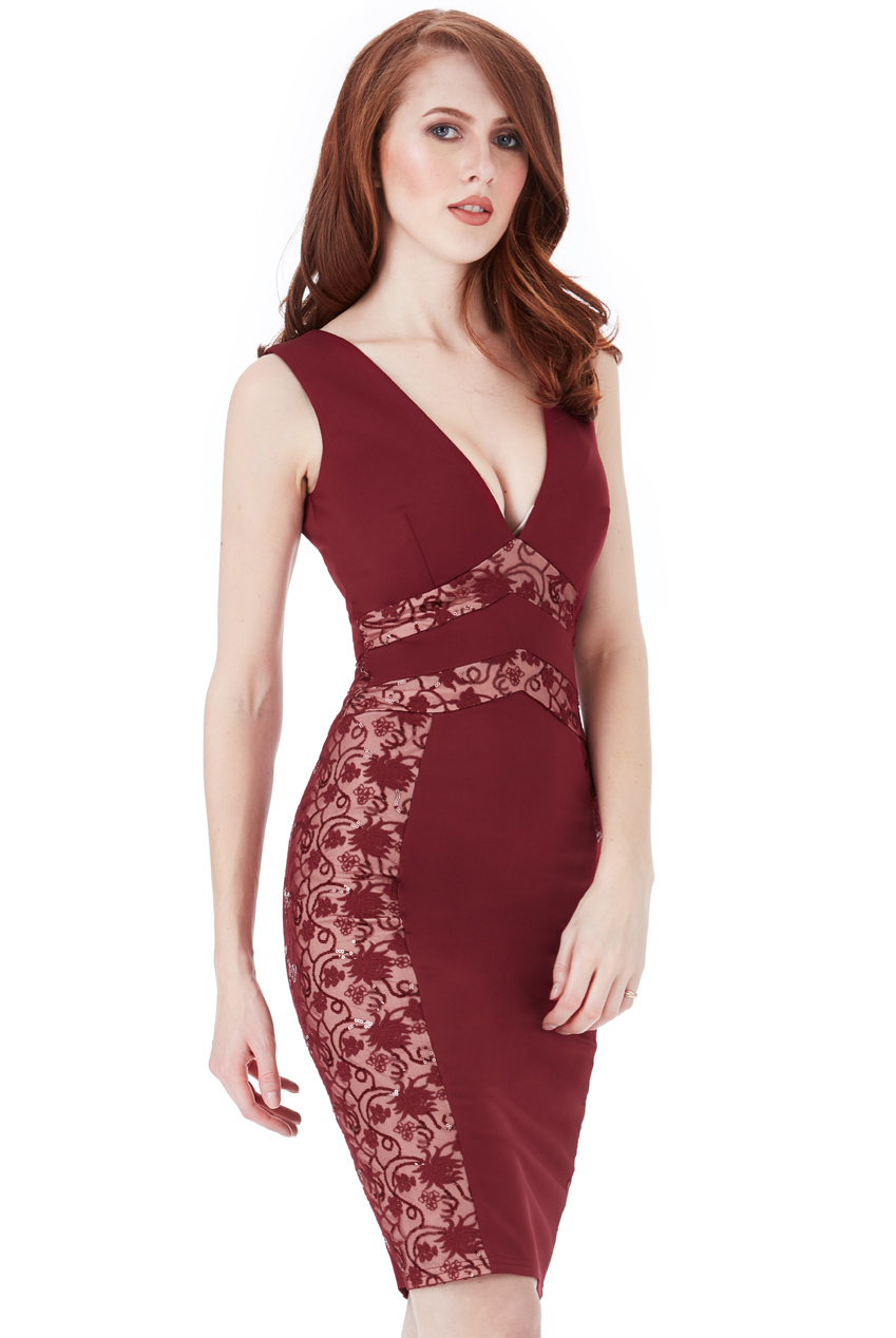 Wholesale V Neck Lace Panel Midi Dress
