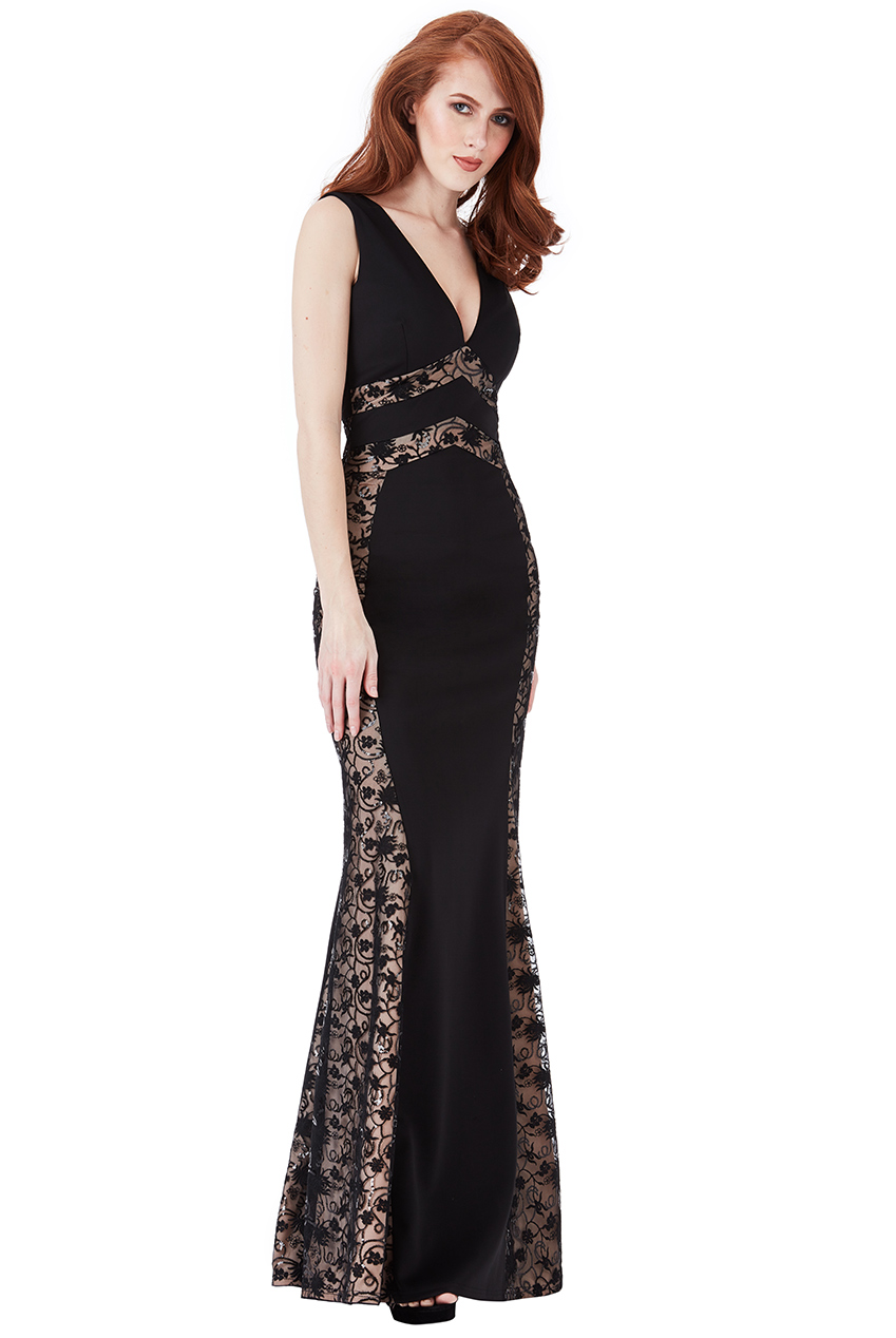 Wholesale V Neck Lace Panel Maxi Dress