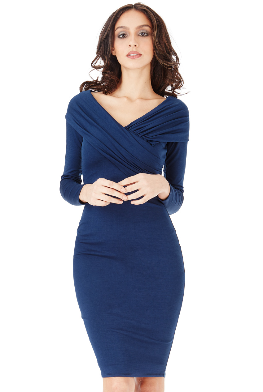 Wholesale Fitted Midi Dress with Pleated Neckline
