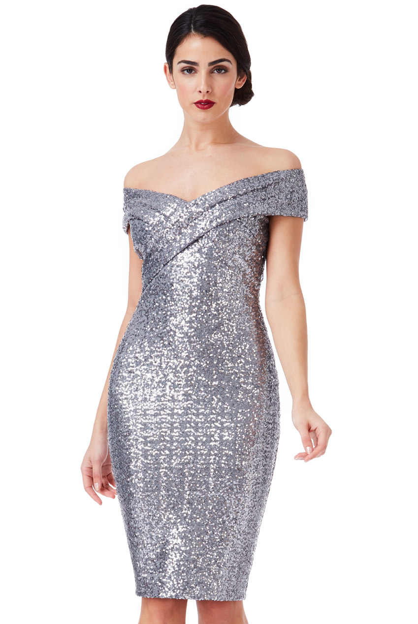 Wholesale Sequin Midi Dress with Pleated Neckline