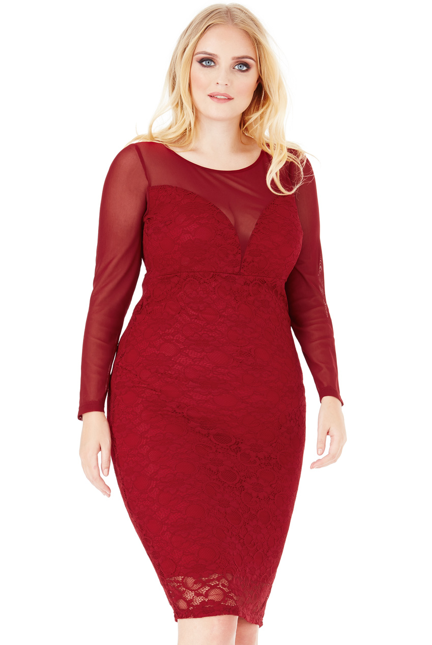 Wholesale Plus Size Lace Midi Dress with Long Sleeves